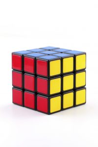 Istanbul, Turkey - July 19, 2014: A Classic Rubik's Cube on a white background. Rubik's Cube invented by a Hungarian sculptor and professor Ernő Rubik in 1974.