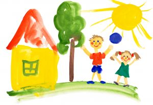 children playing near the house. watercolor drawing, contracting process